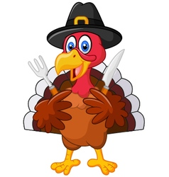Thanksgiving turkey mascot holding knife and fork vector