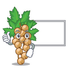 Thumbs up with board white currant isolated with vector