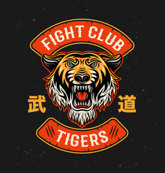 tiger fight club martial arts colorful vector image