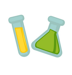 Transparent flasks with chemical liquid substances vector