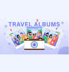 Travel albums hosting service flat banner vector