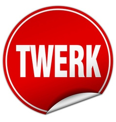 Twerk round red sticker isolated on white vector