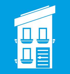 Two-storey house icon white vector