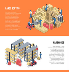 Warehouse isometric banners vector