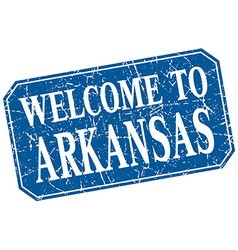 welcome to Arkansas blue square grunge stamp vector image
