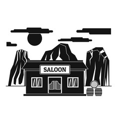 western saloon icon simple style vector image