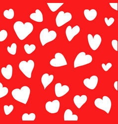 white heart on red background vector image