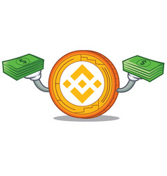 With money binance coin mascot catoon vector