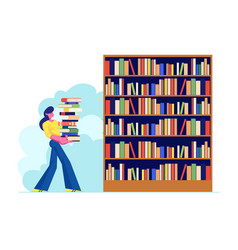 Woman carry big heap book to bookshelf in vector