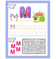 Worksheet for kids with letter m for study vector