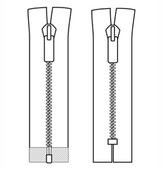 Zipper types closed-ended and open-ended scheme vector image