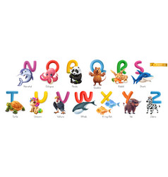 zoo alphabet funny animals 3d icons set letters n vector image