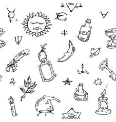 Alchemy symbols pattern vector image