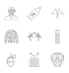 Competition paintball icons set outline style vector image