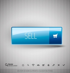 Modern button SELL with icons set vector image