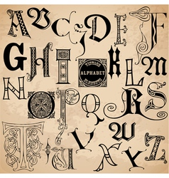 Vintage Alphabet - hand drawn vector image