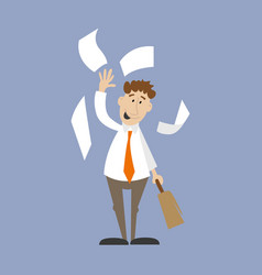 businessman throwing documents vector image vector image