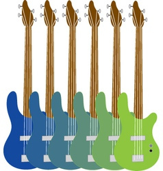 colourful bass guitars vector image