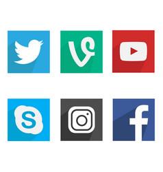 Flat social media icons vector