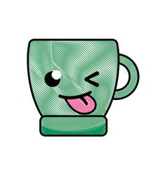 grated funny coffee cup kawaii cartoon vector image vector image
