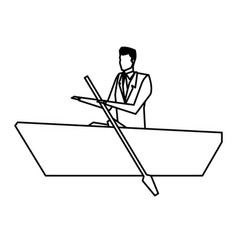 man business paddle success design line vector image vector image