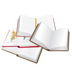 stack of open books vector image