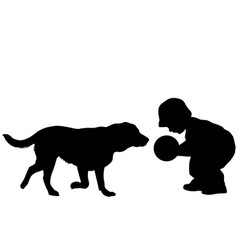 toddler playing with a dog vector image