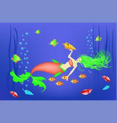 underwater world little mermaid fishes vector image vector image