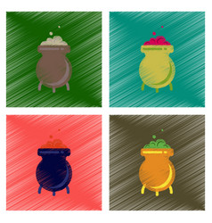 assembly flat shading style icons cauldron witches vector image vector image