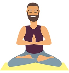 Man doing yoga vector