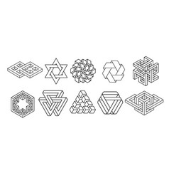 sacred geometry symbols collection vector image
