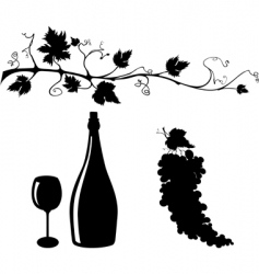 grape and wine silhouettes set vector image vector image