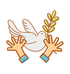 hands with dove animal and branch with leaves vector image vector image