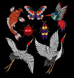 ladybug butterfly hummingbird embroidery vector image