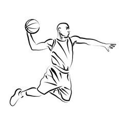 Line sketch basketball player vector image vector image
