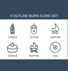 6 burn icons vector image
