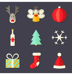 9 Christmas Icons Set 4 vector image