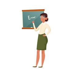 A school teacher in glasses explaining formula vector