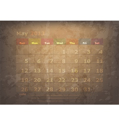 antique calendar of May vector image