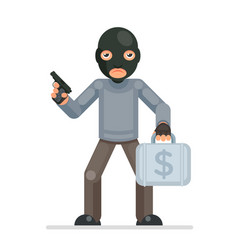 armed robbery stole money suitcase evil greedily vector image