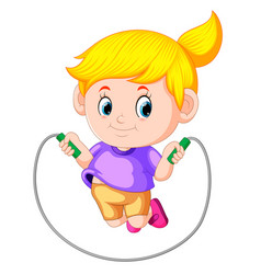 atletes girl plays skipping vector image