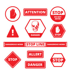 Attention stop signs danger alerts traffic vector