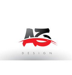 Az a z brush logo letters with red and black vector
