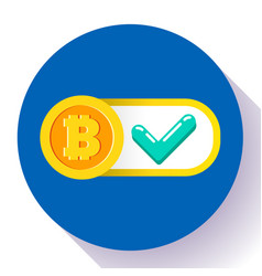Bitcoin accepted here icon flat style vector