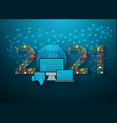 Business innovation technology 2021 new year set vector