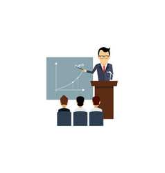 businessman leading presentation during the vector image