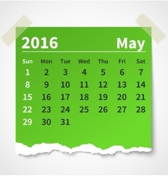 Calendar may 2016 colorful torn paper vector image