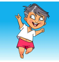 Cartoon happy baby jumping fun vector