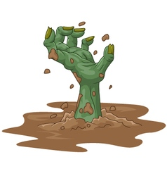 Cartoon zombie hand out of the ground vector