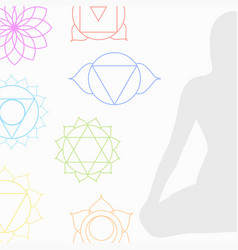 chakra icons in respective colors vector image